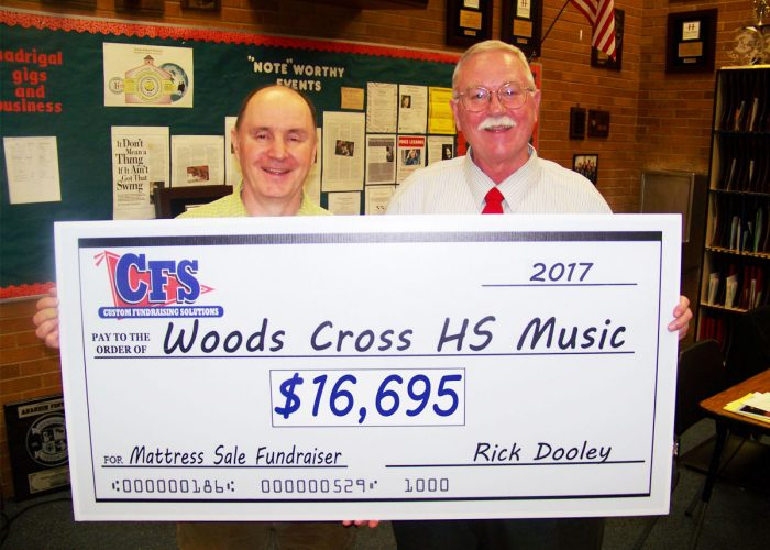 CFS Woods Cross Highschool Music's Check for $16,695
