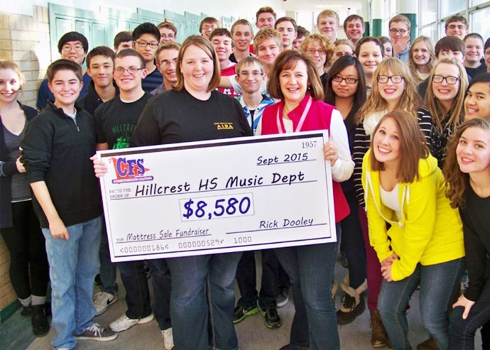 CFS Hillcrest Highschool Music Department's Check for $8580