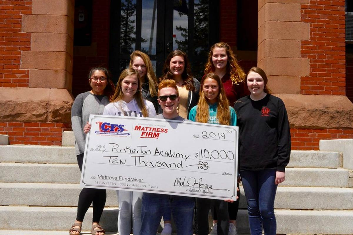 Check for $10,000 from Pinkerton Academy